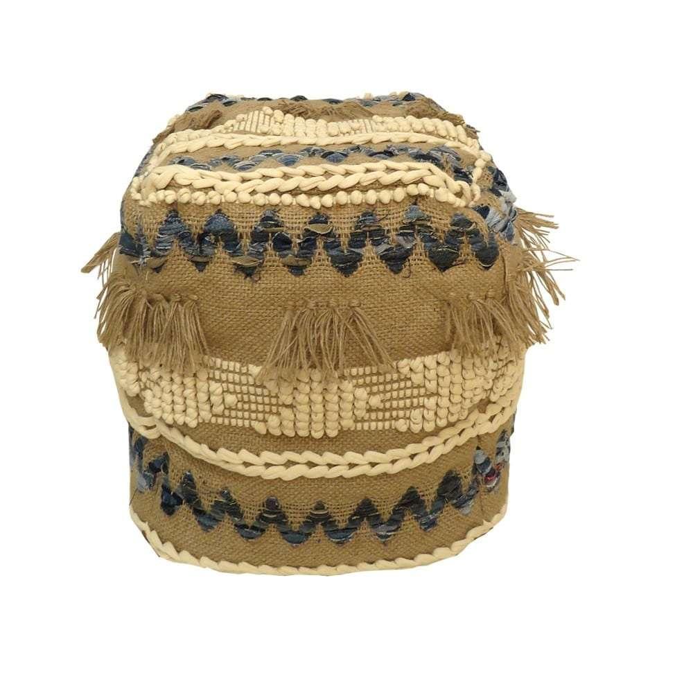 Σκαμπό Cotton, Καφέ/Εκρού, Boho 10068, 45x45x45εκ., Αrt Et Lumiere