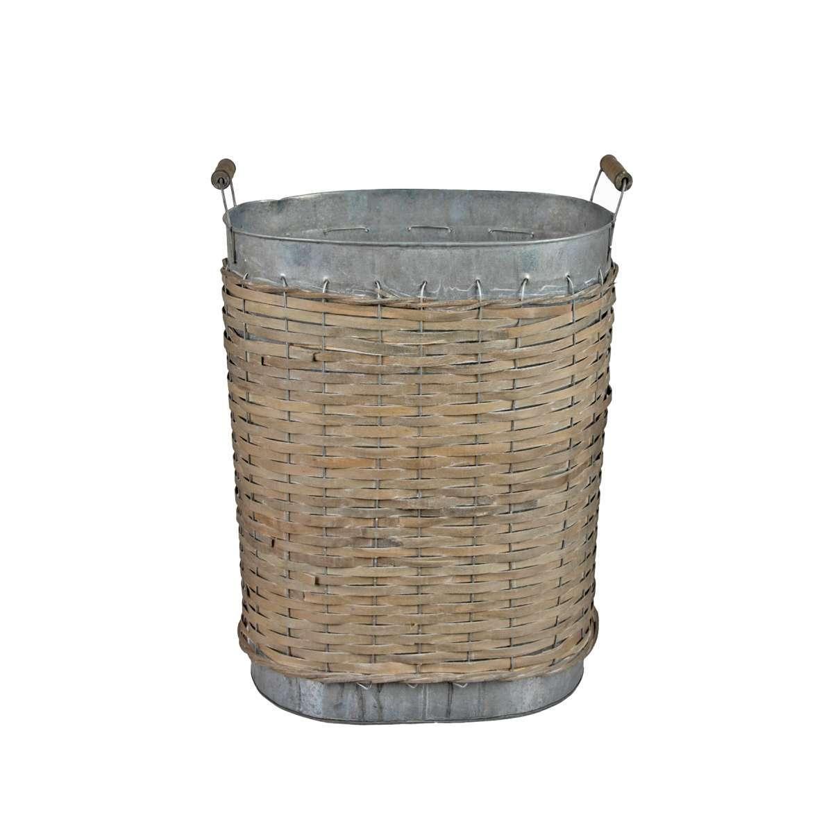 Καλάθι Ράτταν & Μέταλλο, Φυσικό Καφέ/Ασημί, 30x19x40εκ., Art Et Lumiere