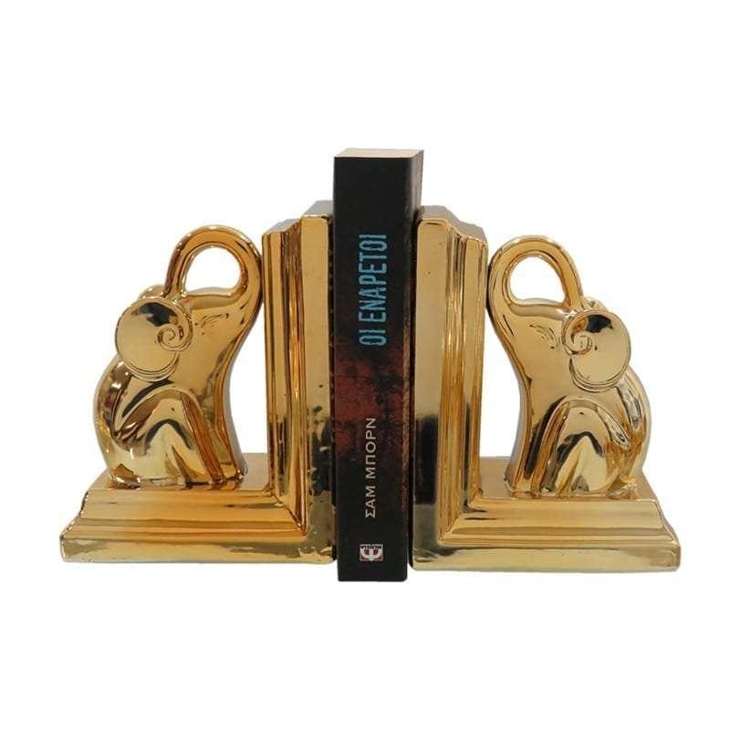 Βιβλιοστάτης, Κεραμικός, Σετ 2 Τμχ., 14.5x9x18εκ., Χρυσό, Αrt Et Lumiere
