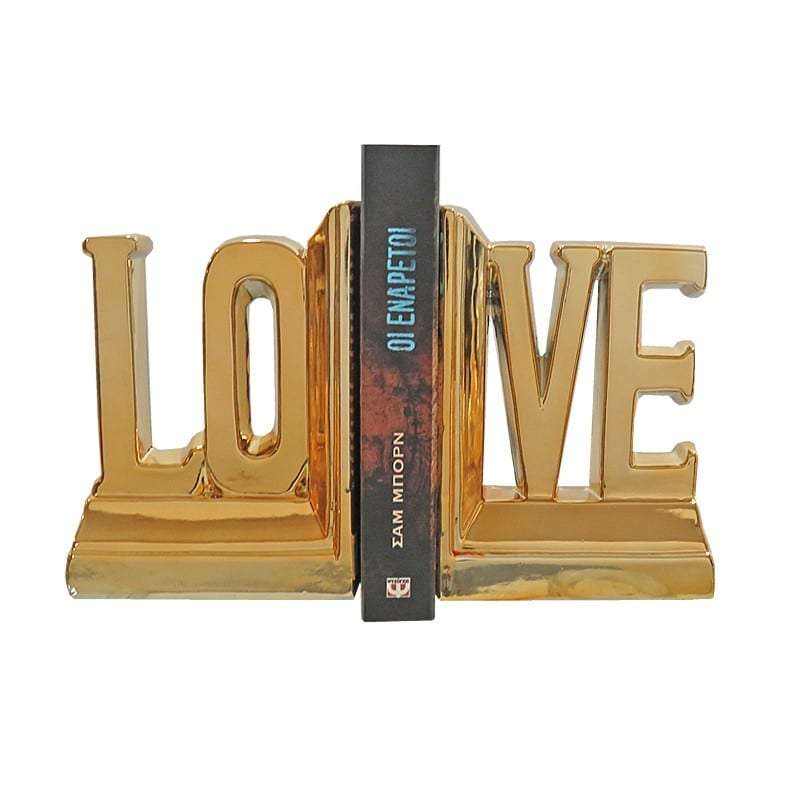 Βιβλιοστάτης, Κεραμικός, Χρυσό, Σετ 2 Τμχ., 14.7x7x18.2εκ., Art Et Lumiere