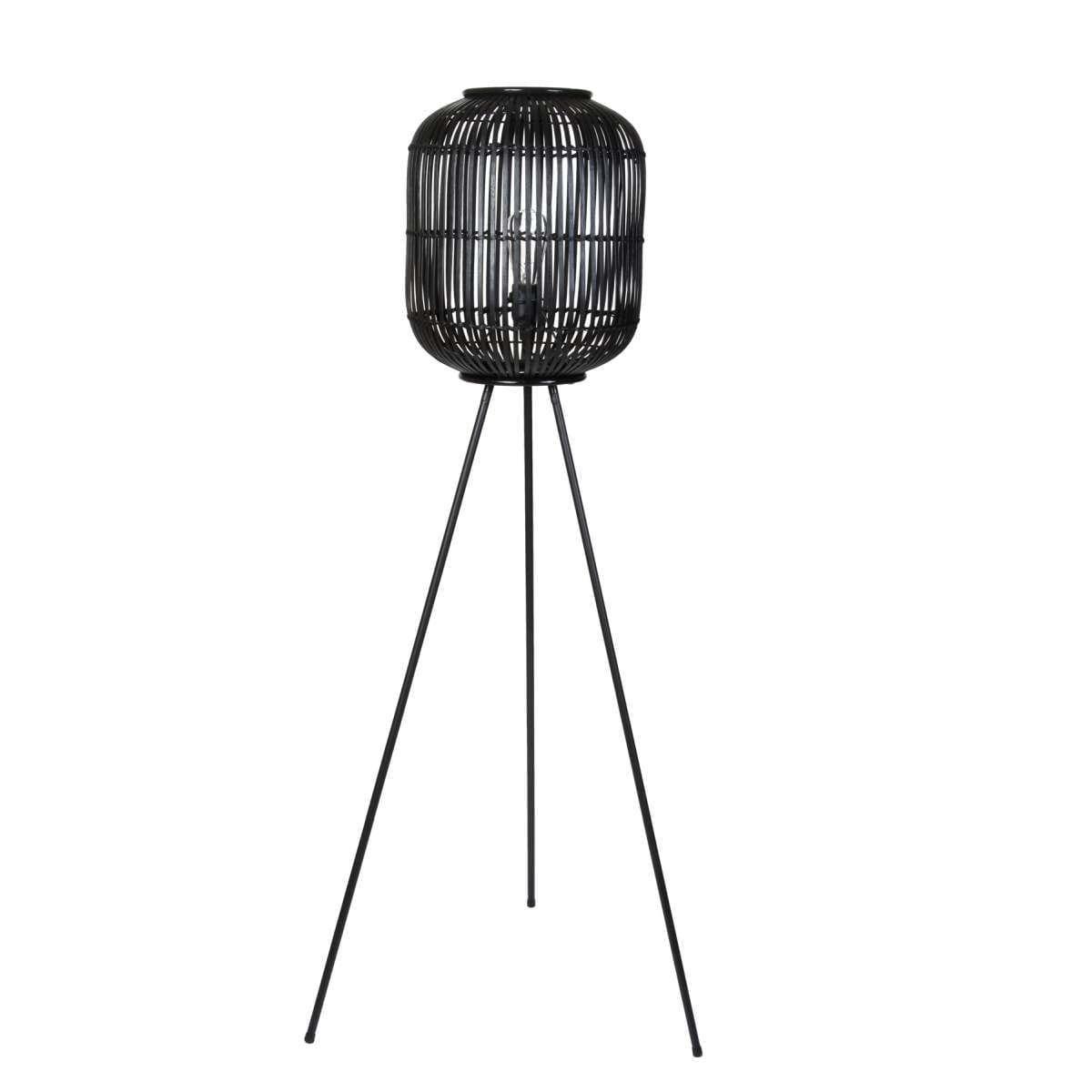 Επιδαπέδιο Φωτιστικό, Μπαμπού, Φ36x141εκ., Μαύρο, Art Et Lumiere