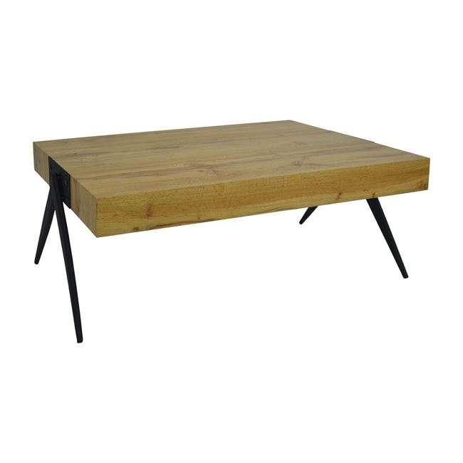 Τραπέζι Σαλονιού, Με Mdf Επιφάνεια Φυσικό Και Μεταλλικά Πόδια, 115Χ60Χ42Υεκ., HM8539.01