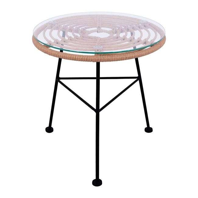 Τραπέζι Μεταλλικό, Allegra, Με Wicker, Μπεζ Και Γυαλί Φ45Χ46Υεκ., HM5459