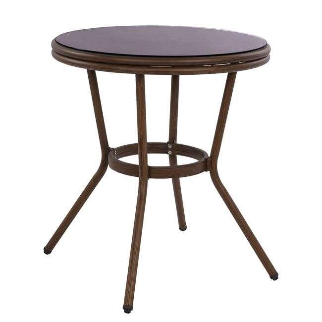 Τραπέζι Αλουμινίου, Φ70 Bamboo Look, Καφέ Με Γυαλί, HM5532.03