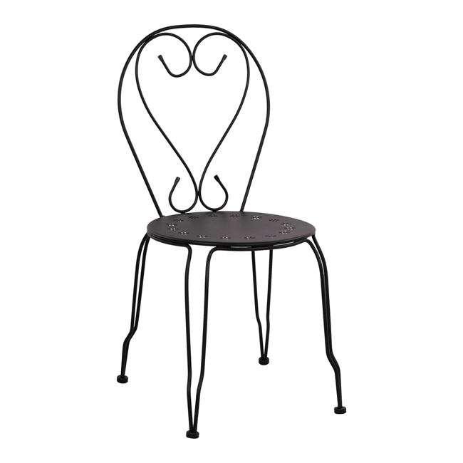 Καρέκλα Μεταλλική, Amore, Μαύρη, HM5007.11