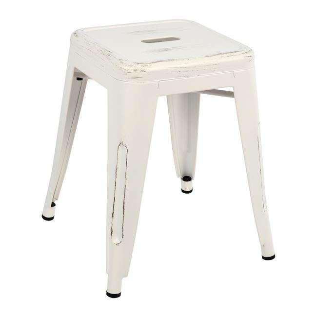 Σκαμπό Μεταλλικό Melita, Σε Λευκή Πατίνα, 39x39x46Υεκ., HM0096.05, Β2b Μarkt
