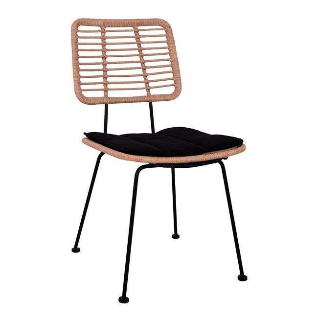 Καρέκλα Μεταλλική, Με Μαξιλάρι Allegra, Με Wicker Σε Μπεζ Απόχρωση, HM5454