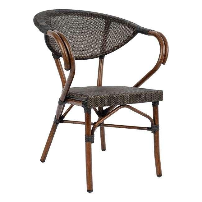 Πολυθρόνα Αλουμινίου/Bamboo, Look, Καφέ Με Textline, HM5025, B2b Markt