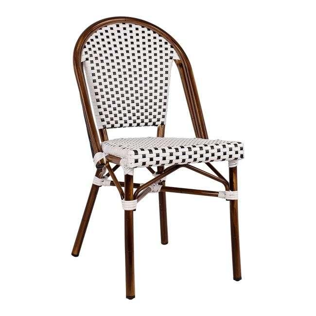 Καρέκλα Bistro, Αλουμινίου, Bamboo Look, Με Λευκό-Μαύρο Rattan, 45x54x90Υεκ., HM5566.01
