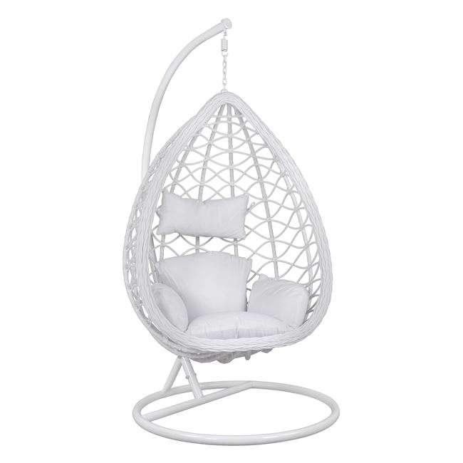 Κρεμαστή Πολυθρόνα Φωλιά, Με Λευκό Wicker & Μαξιλάρια, Φ105x195Υεκ., HM5676.04, B2b Markt