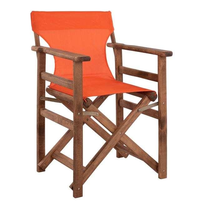 Καρέκλα Σκηνοθέτη, Λήμνος, Καρυδί, Με Textilene Πορτοκαλί, HM10368.02