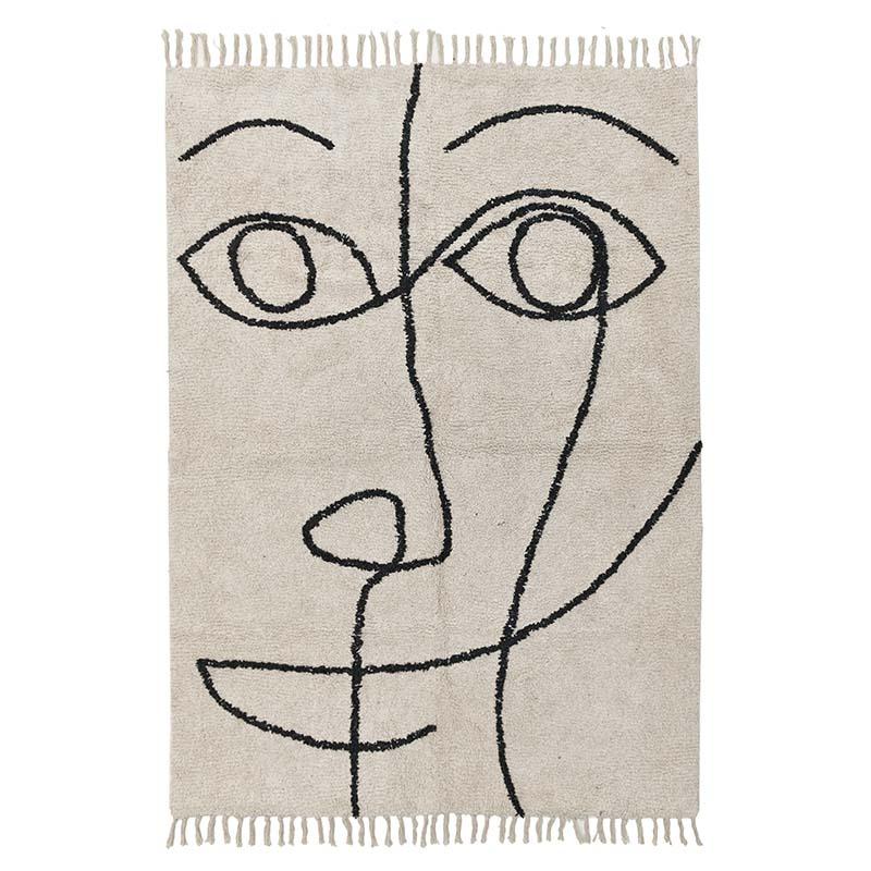 Χαλί, Μπεζ/Μαύρο, Πρόσωπο, 120x120x180εκ., Inart