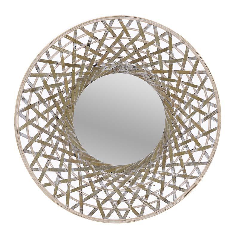 Καθρέπτης Τοίχου, Ξύλινος, Φυσικό/Μπεζ/, 60x5x60εκ., Inart