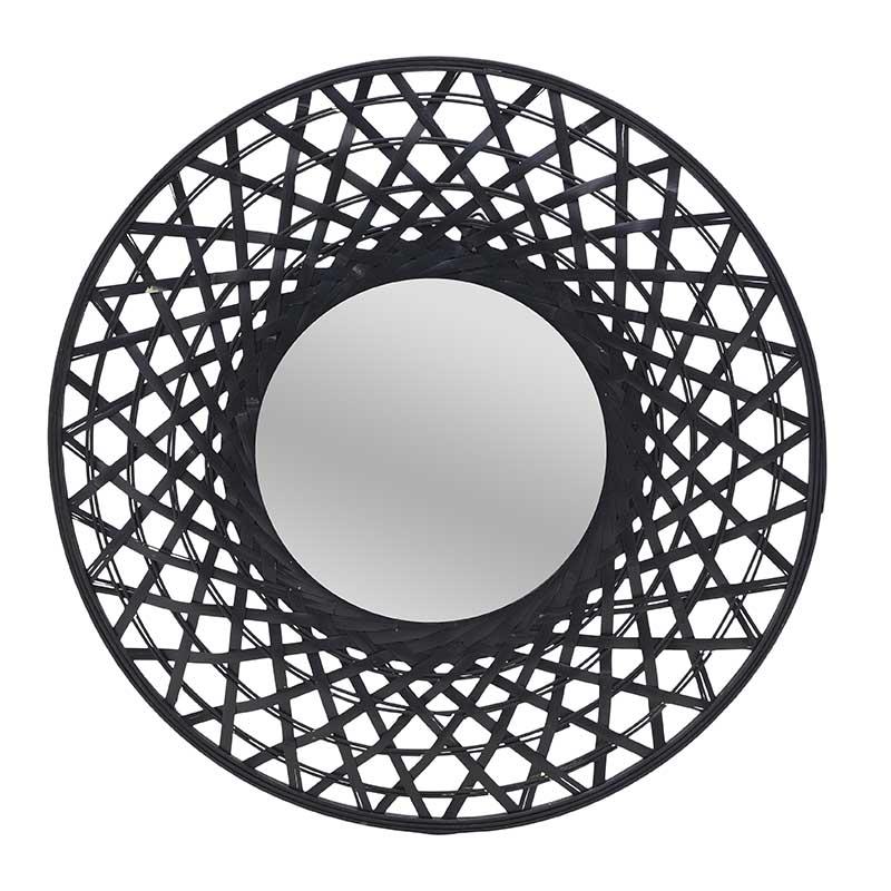 Καθρέπτης Τοίχου, Ξύλινος, Μαύρο, 60x5x60εκ., Inart