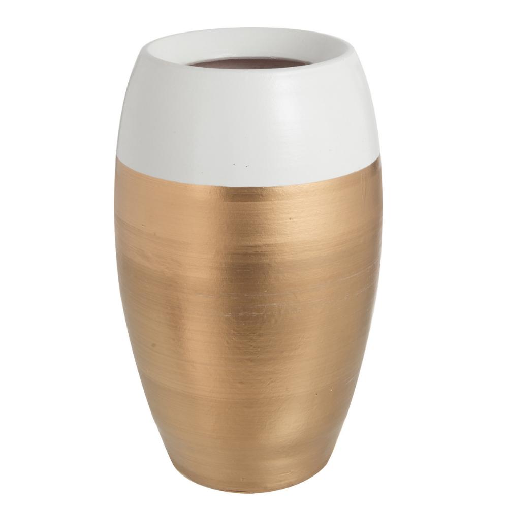 Διακοσμητικό Βάζο Κεραμικό, Χρυσό/Λευκό, 20x30.5εκ., J-Line