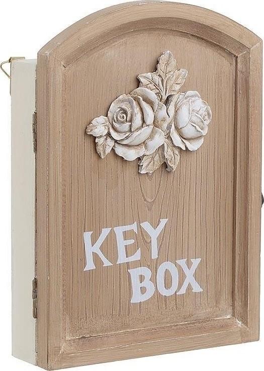 Κλειδοθήκη Ξύλινη, Αντικέ, Λευκό/Natural, 24x5x30εκ., Inart