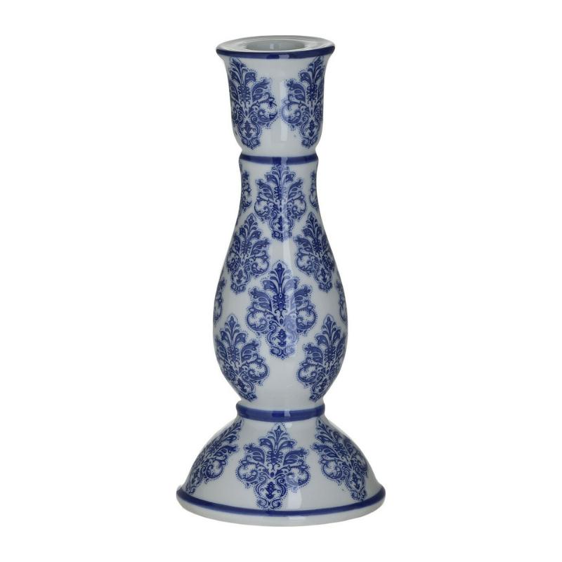 Κηροπήγιο Κεραμικό, Λευκό, Με Μπλε Σχέδια, 10,5x10,5x20εκ., Inart