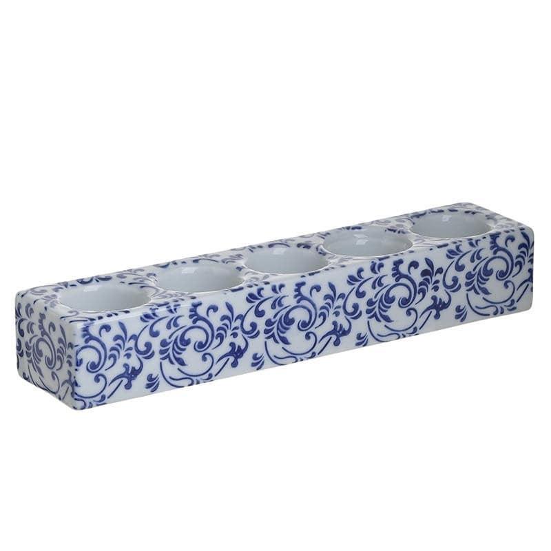 Κηροπήγιο Κεραμικό, 5 Θέσεις, Λευκό/Μπλε, 32x7x5εκ., Inart