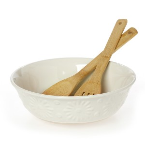 Σαλατιέρα Με Κουτάλες Bamboo, Flower Cream Stoneware, Cryspo Trio