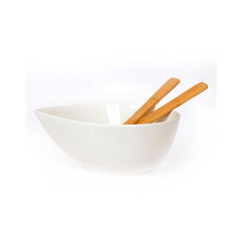 Σαλατιέρα Πορσελάνης, Σαν Φύλλο, Λευκό, Με Κουτάλες Bamboo, Cryspo Trio